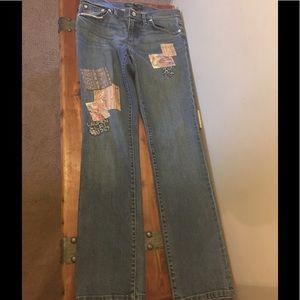 Patchwork Lauren jeans.